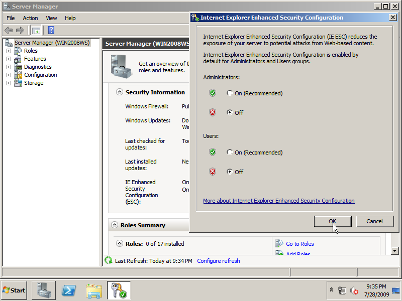 Disable Internet Explorer Enhanced Security Configuration via the Server Manager