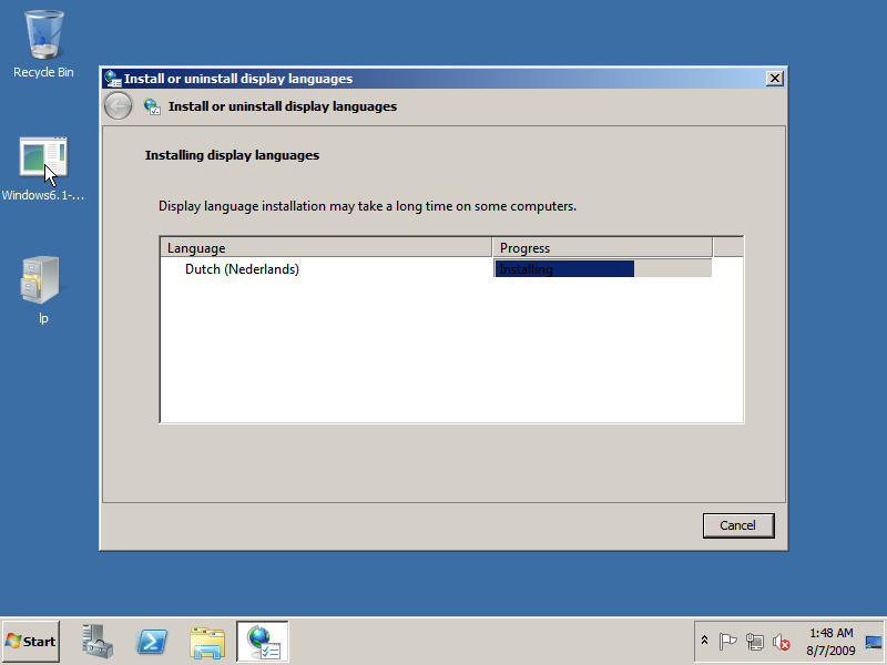 Installing language pack in Windows Server 2008 R2