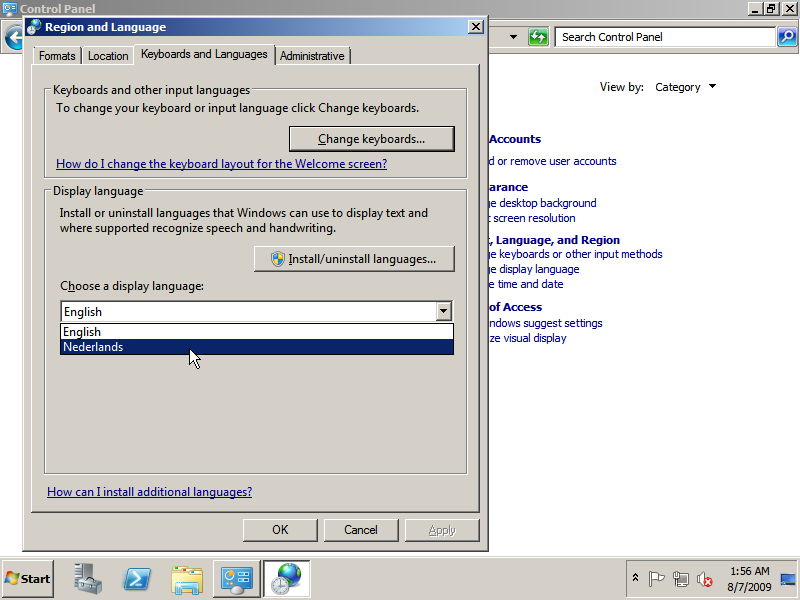 Change display language for Windows Server 2008 R2
