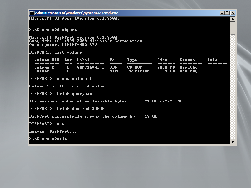Shrink partition using diskpart to create space for the installation of Windows Server 2008 R2