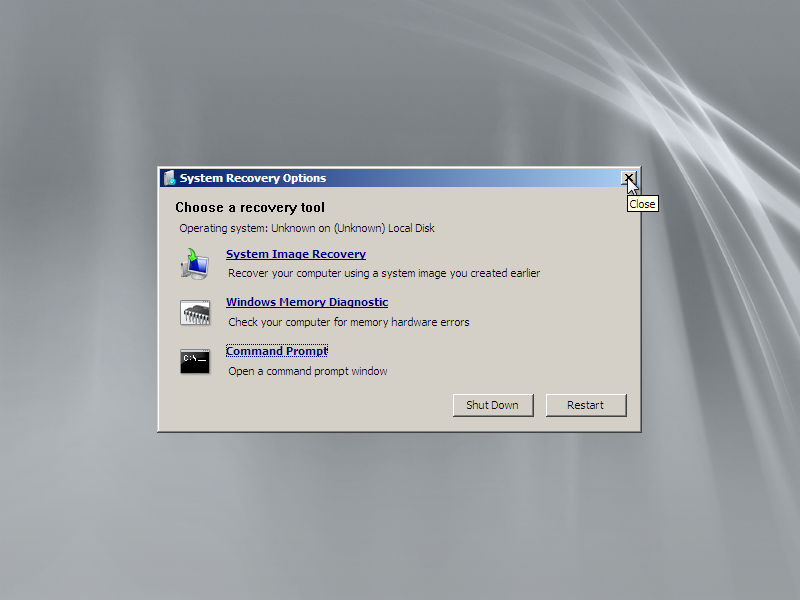 Close the System Recovery Options screen