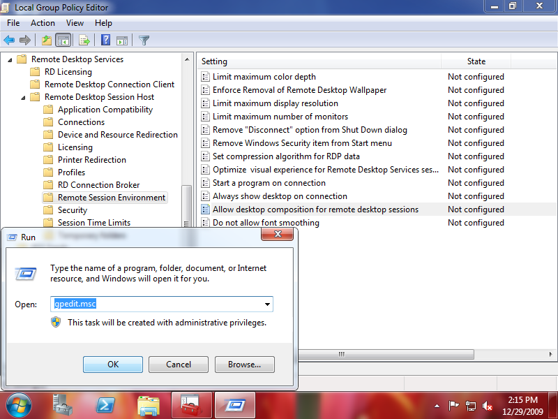 """Remote Session Environment"" section in the Group Policy Editor"
