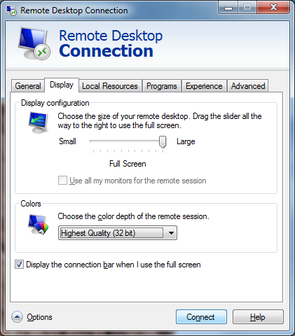 "Set ""color depth of the remote session"" to ""Highest Quality (32bit)"" in the Display tab of the Remote Desktop Connection client"