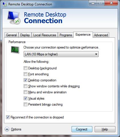 At least enable Desktop Composition and Visual Styles in the Experience tab of the Remote Desktop Connection client