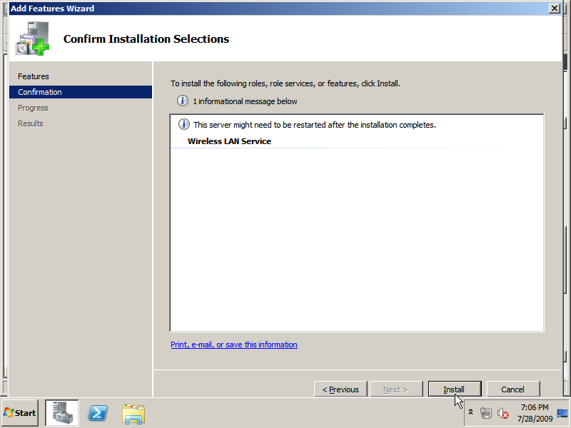 "Click Install on the ""Confirm Installation Selections"" page"