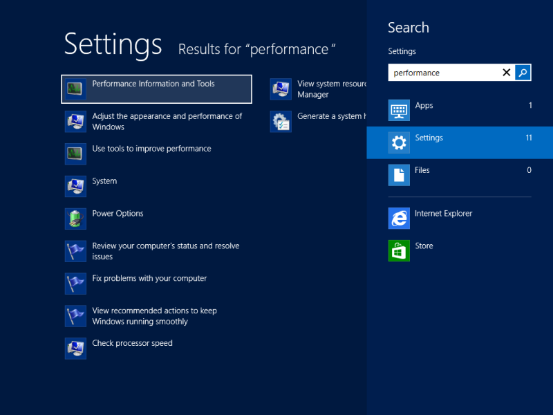 'Performance Information and Tools' in Start menu