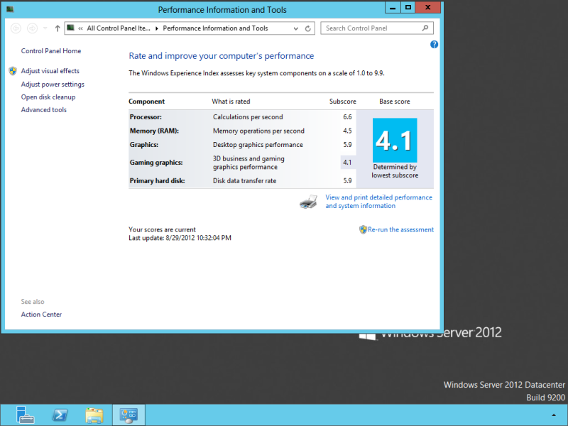 Windows Experience Index of a Virtual Machine