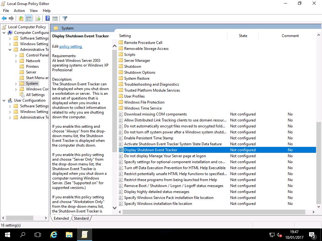 Disabling Shutdown Event Tracker Windows 2016 Workstation
