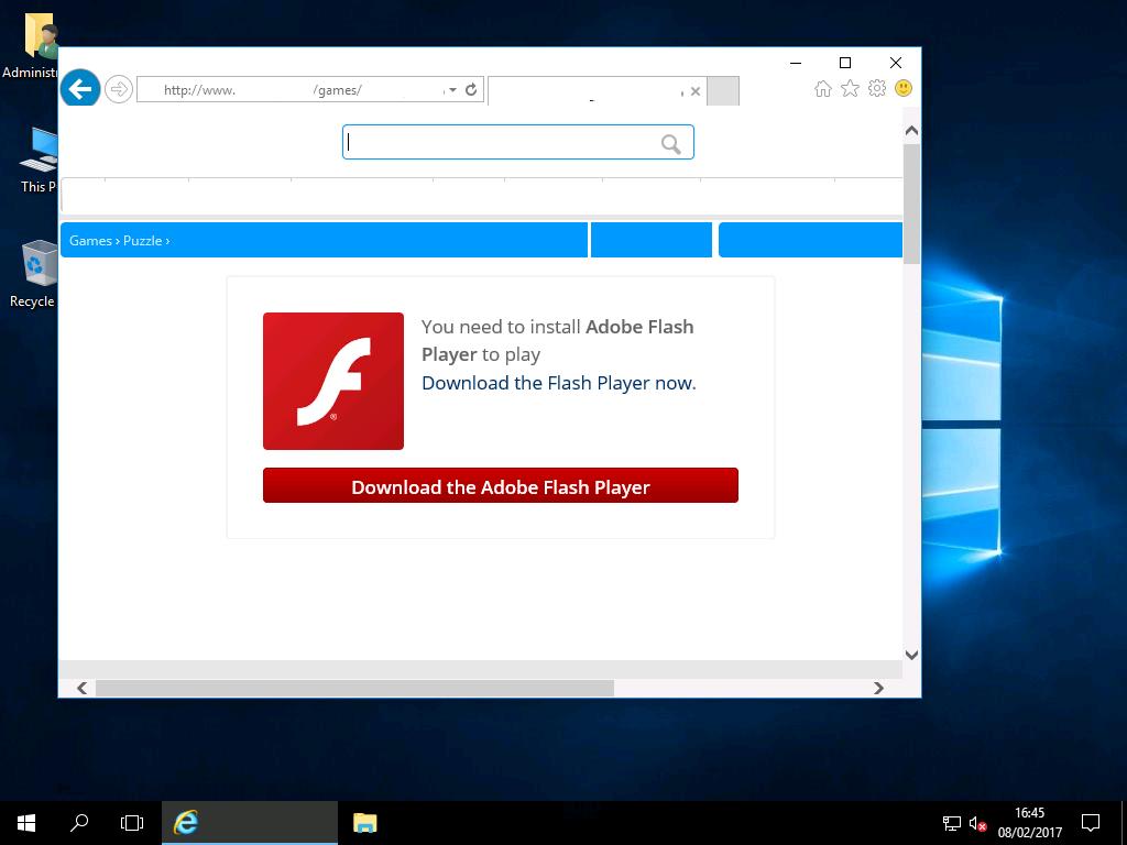 Enabling Adobe Flash Player – Windows 2016 & Wndows 2019