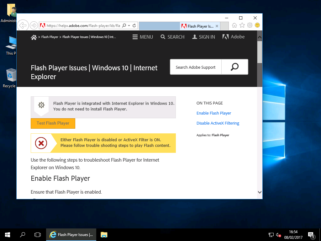 Enabling Adobe Flash Player – Windows 2016 & Wndows 2019