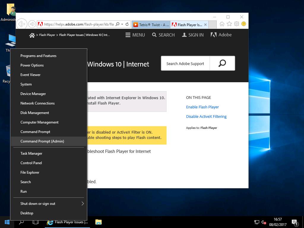 Enabling Adobe Flash Player – Windows 2016 & Wndows 2019 Workstation!