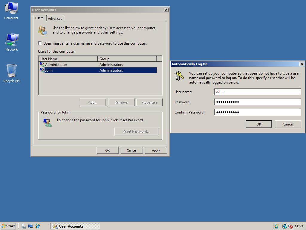 windows 7 auto logon registry hack