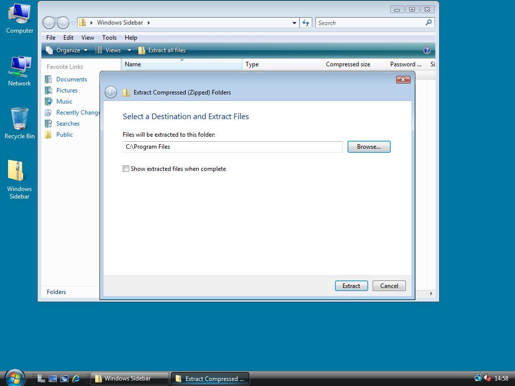 Installing the Vista SideBar – Windows 2008 Workstation!