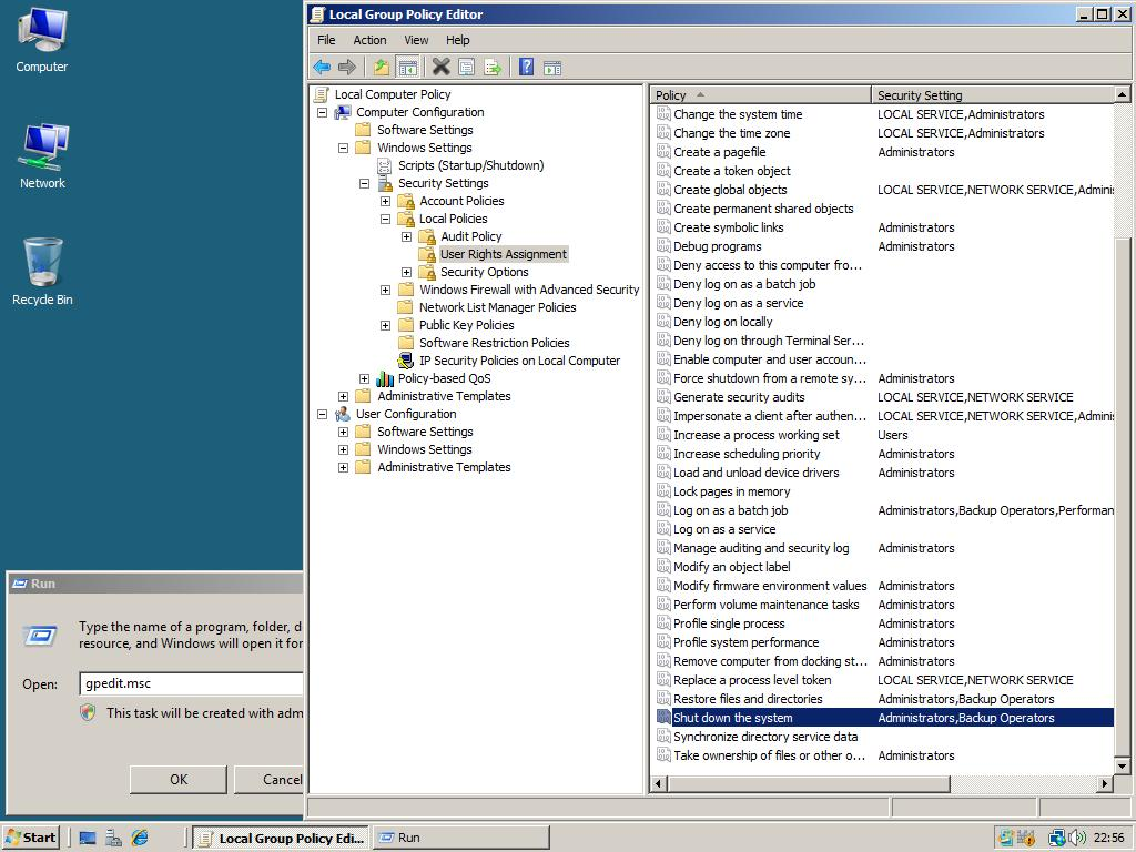 group policy user rights assignment
