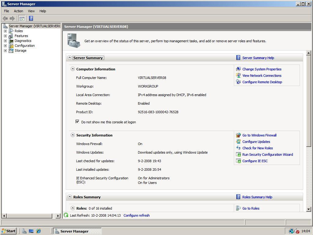 Installation – Windows 2008 Workstation!